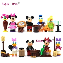 8pcs star wars super heroes Cartoon Minnie Donald Duck Mickey Daisy building blocks action model bricks toys for children(China)