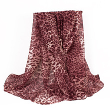 2017 New Fashion Design Women Leopard Printing Polyester Scarf Voile Red Scarfs For Women Black Scaves 180*90cm(China)