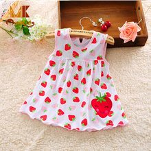 Monkids 2017 Cute Baby Girl Dress Cotton Dot Sleeveless A-Line Dresses Casual Kid Clothing Vestido Infantil Princess Dress
