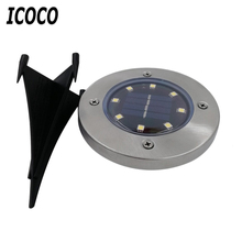 ICOCO 4pcs/set Solar Power Panel Lawn Lamps Bright Light LED Energy Saving Waterproof For Pathways Garden Install In Ground