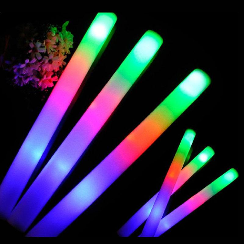 24Pcs-Lot-Colorful-Flashing-LED-Foam-Sticks-48cm-Light-Up-Glow-Stick-Soft-Rally-Rave-Cheer