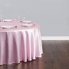 Free Shipping 10pcs Cheap Pink 70''/90''/108''/120''/132'' Round Satin Table Cloth Banquet Table Cover Wedding Table Linens