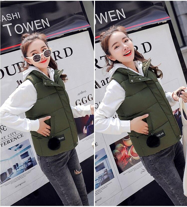 NIJIUDING M-XXXL 2018 New Parka Spring Autumn Slim Velvet Women Vest Jacket Warm Cotton-padded Winter Plus Size Waistcoat female (13)