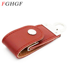 FGHGF 2 colors Leather USB Flash Drive pendrive 4GB 8GB 16GB 32GB keychain Pen drive 32GB flash Memory stick usb creativo