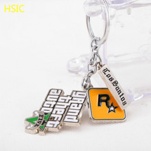 HSIC JEWELRY 10pcs/lot PS4 GTA 5 Game keychain Grand Theft Auto 5 Keychains For Fans Xbox PC Rockstar for Men Jewelry 4.5*4cm