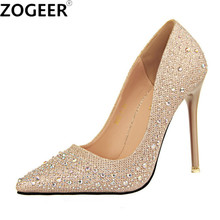 New 2017 Spring Autumn Women Pumps Sexy Black Gold Silver High Heels Shoes Fashion Luxury Rhinestone Wedding Party Shoes(China)