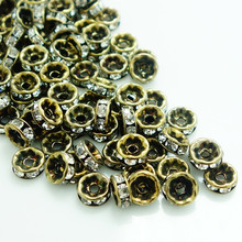 Wholesale 100pcs Bronze gold Czech Crystal Rhinestone Rondelle Spacer beads jewelry DIY 4mm5mm6mm7mm8mm10mm(China)
