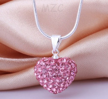 Min.$15 Mixed Order+Free Shipping+Gift.Pink 12*14mm Pink heart Silver Plated Crystal Shamballa  Necklace  For Women.