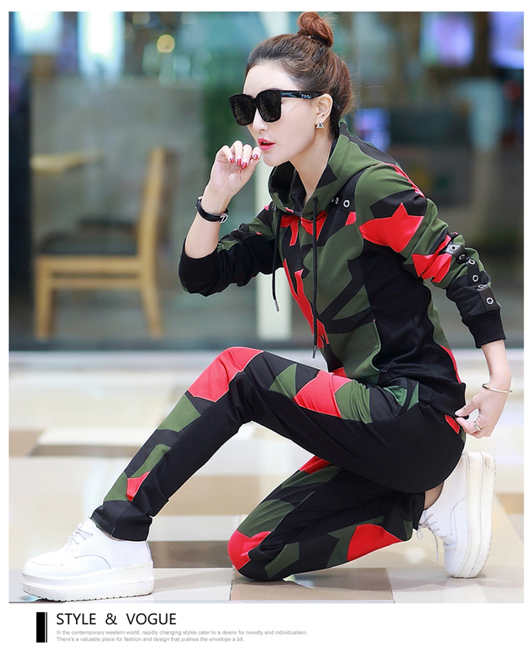 17 Women 2 Two Piece Set Camouflage Sporting Suit Femme Hoodies Sweatshirt Top And Pants Sweatsuit Set Casual Runway Tracksuit 5