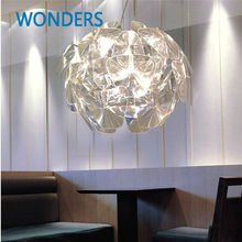 Modern reflective Brief Nordic design pendant lamp clear acrylic 'Flower of hope' dinning lighting coffee house bar decoration