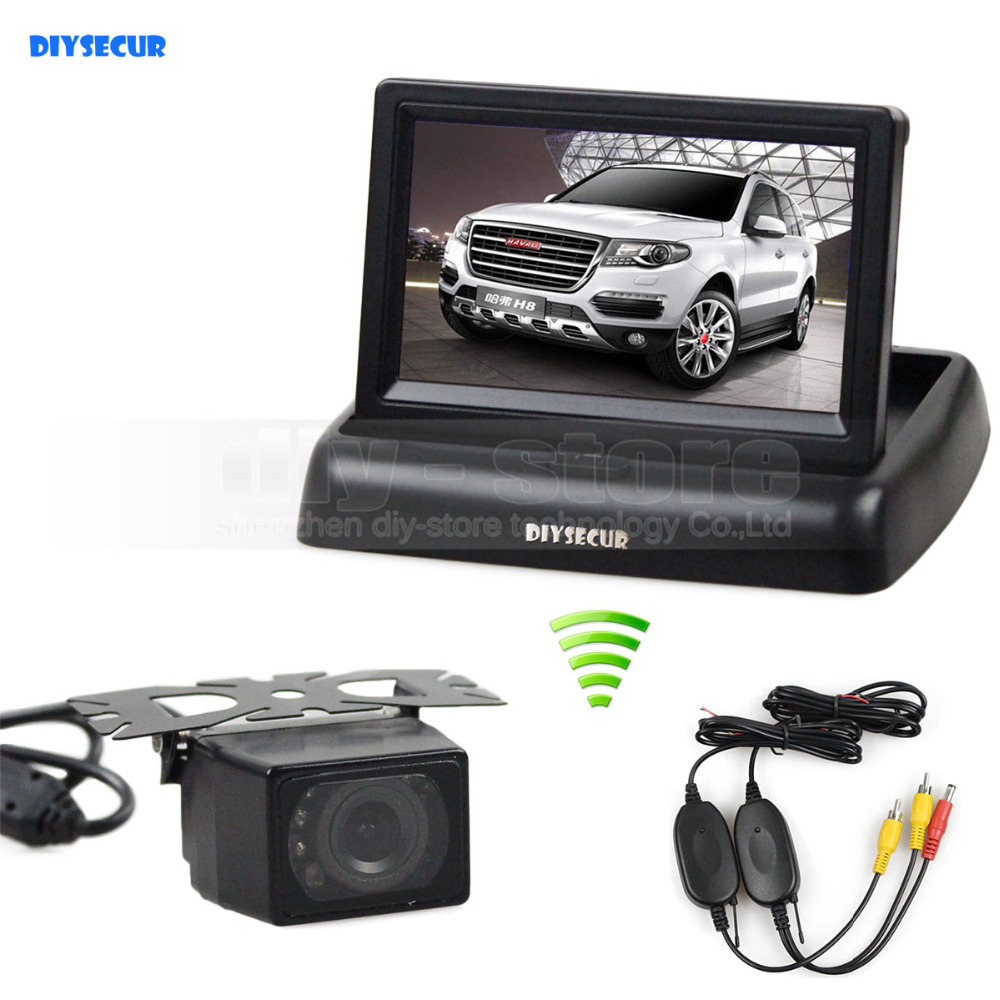 DIYSECUR Wireless 4.3 Inch Car Reversing Camera Kit Back Up Car Monitor LCD Display HD Car Rear View Camera <br>