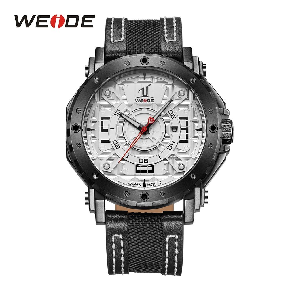 WEIDE Men Japan Quartz Movement Watch Analog Date Calendar Display Hardlex Black Leather Strap Band Waterproof Wristwatch Sport<br>