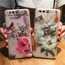10 pcs/lot Pink White Peony Flowers Bird Cases For Coque Huawei P10 P10 Plus Case Capinha Funda Matte Soft TPU Silicone Cover(China)