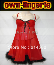 sexy babydoll Red Free Shipping sheer sleepwear nighty dress , baby doll nighties ,cheap underwear online w8142(China)