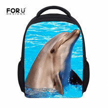 Dolphin Hot Children School Bags Animals print Girl SchoolBag Cute Small Baby Kindergarten Backpacks Child Kid Back Pack Mochila(China)