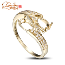Two Stones 5x7mm Oval Solid 14k Yellow Gold Natural Diamond Semi Mount Ring(China)