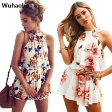 Buy Sexy Shoulder Floral Print Summer Playsuit Women 2018 Halter Sleeveless Ruffles Wide Leg Short Jumpsuit Beachwear Overalls