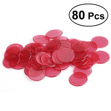 80pcs Transparent Counters Counting Bingo Chips Plastic Markers Bingo Supplies (Red)(China)