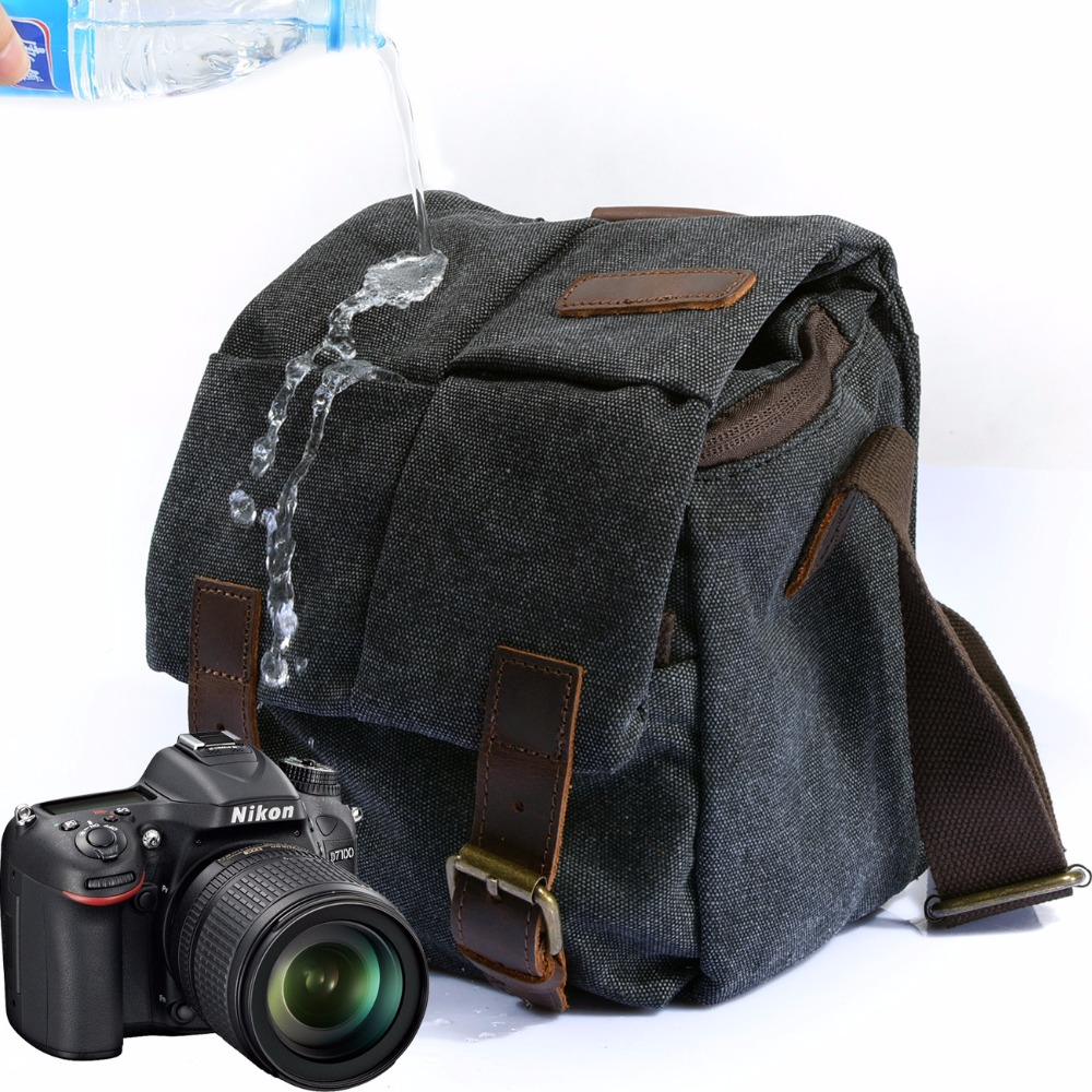M137 New Portable Vintage Canvas Micro DSLR Camera Shoulder Bag Shoulder Messenger Bag for Canon for Nikon for Sony for Olympus<br>