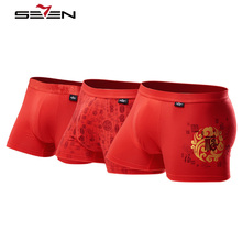 Seven7 Brand Men Boxers Sexy Underwear Chinese Tradition Style Print Red Boxers High Elastic Comfortable Sleep Shorts 109G48040