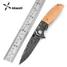 KKWOLF Black Titanium Wood Handle Folding Knife Hunting Knife Survival Camping Pocket Knife Portable Outdoor Knife Tactical Hot