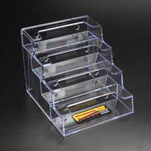 Four Pockets Clear Desktop Office Counter Acrylic Business Card Holder Stand Display Fit For Office School(China)
