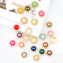 2017 New Mix Color 12mm Pearl Button Brass 18mm Gold Metal Round Tray Rhinestone Cabochon Base Cameo Setting DIY Jewelry Charms(China)