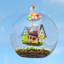 2017 DIY Glass Ball Doll House Model Building Kits Wooden Mini Handmade Miniature Dollhouse Toy Birthday Gift(China)