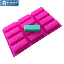 12 Holes Small Rectangle Bar Soap Mould Silicone Cake Baking Mold Cake Muffin Cups Handmade Soap Moulds Chocolate Tray DIY Mold(China)