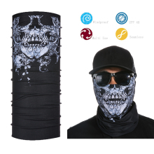 Best Selling Motorcycle Tubes Black Skull Pattern Face Mask Custom Bandana Face Shield