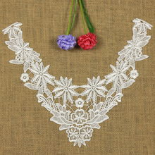 1 PC Embroidery Collar Lace Flowers Neckline Applique Trim, Collar Flower Fashion Hollow Decoration Clothing Acessories(China)