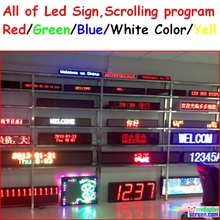 led sign display Programmable scrolling red/green/blue/white/yellow color  semi-outdoor/indoor,remote controller,rs232 control