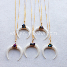 WT-N456 Wholesale Hot genuine OX bone carve horn necklace with hematite charms handmake wire wrapped bone necklace