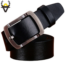 Casual Man's belt Cow genuine leather belts for men Brand Designer luxury strap High quality pin buckle girdle for cowboy jeans(China)