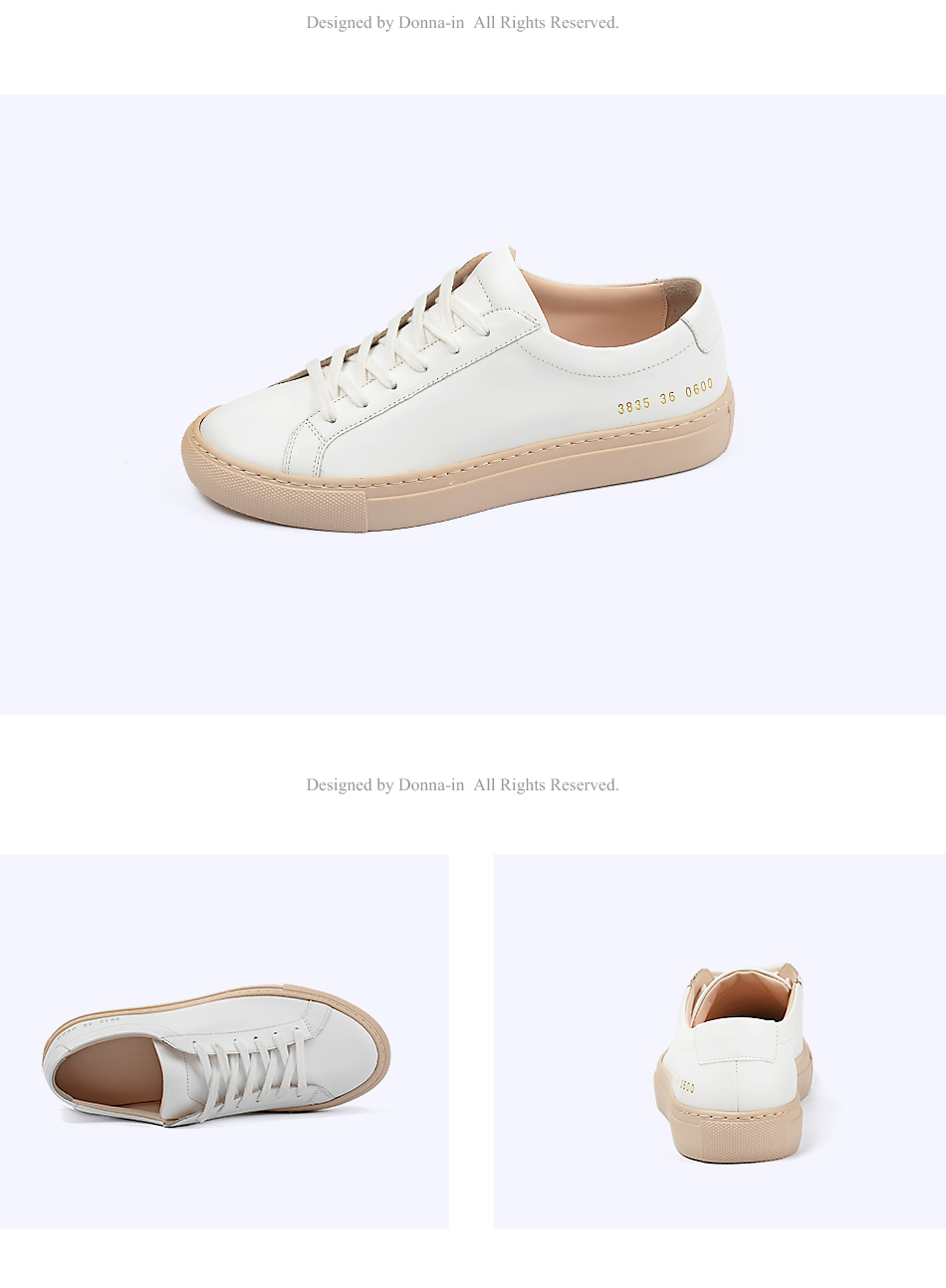 Donna-in Sneakers Women Genuine Leather Flat Low Heel Platform Ladies Lace Up Fashion Breathable Shoes Women 2018 White Nude (3)