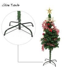 Christmas Tree Stand Green Metal Holder Base Cast Iron 4 Feets Stand Natal Party Decoration Xmas Tree Support Shelf Holder Rack(China)