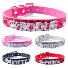 DIY Name Dog Collars Bling Personalized Pet Dog Collar With Diamond Bucklet Puppy Cat Necklace W/ Letters & Charms collar perro(China)