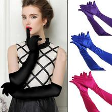 1Pair Fashion Chic Satin Long Gloves Opera  Evening Party Costume Gloves Fancy Classic Stretch Gloves For Women Girl(China)