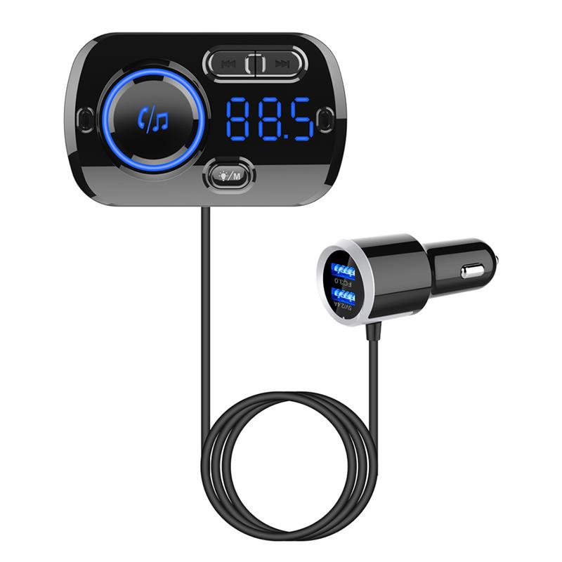 Lorenlli Tama/ño Compacto Manos Libres Bluetooth Kit de autom/óvil inal/ámbrico Transmisor de FM Radio Tarjeta TF Reproductor de m/úsica MP3 con 2 Puertos USB