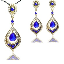 Vintage Costume Royal Blue Drop Dubai Jewellery Sets Gold Tone Micro Pave Crystal Open Back Antique Chain Necklace Earrings Set