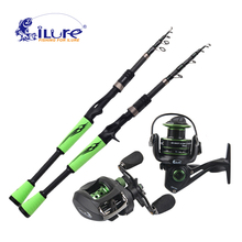 iLure 1.98-2.1 Mt Sea Portable Telescopic Fishing Rod +  Spinning Fishing Reel / BaitCasting Fishing Reel Angel Fishing Set