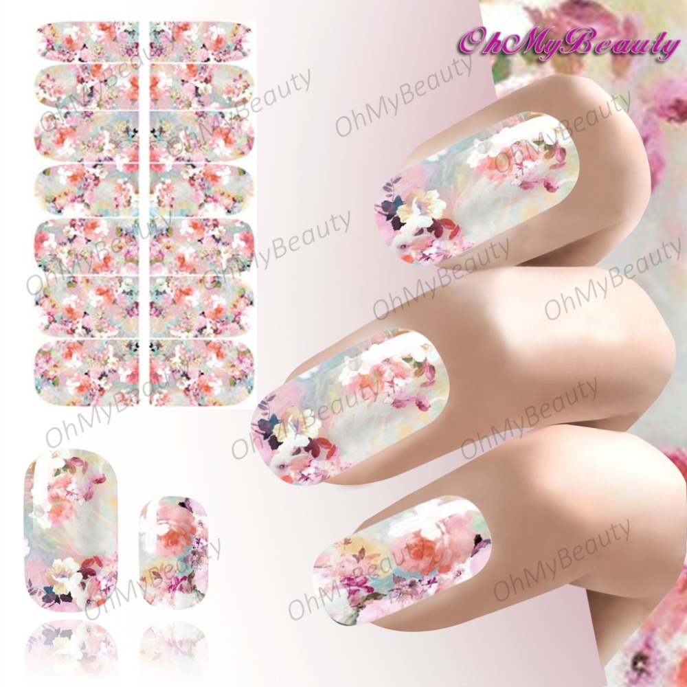 Beauty Nail Art Sticker Decals Flowers Full Self Adhesive Nails Wraps Foil Elegant Blown Floral French Pattern Design Decals<br><br>Aliexpress