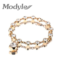 Modyle 2017 New Fashion Bracelets & Bangles wholesale Gold-Color Crystal Rhinestone Heart Bracelets Bangles