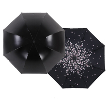 New Cherry Blossoms Design Black Umbrella Cool Fashion anti-uv Sakura Flower Umbrella Female Rain Tools Sun Parasol T20(China)