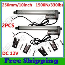 "A Pair of TWO Multi-function 250mm 10"" Stroke DC 12V Heavy Duty Linear Actuator &Brackets for Door Opening Electronic Lifting"