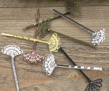 20x25mm Blank Bobby Pins Bases Settings Metal Brass Filigree Flower pads Hair Clip Hairpins Crafts DIY Findings
