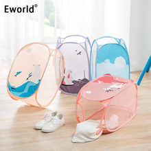 Eworld Foldable Dirty Clothes Storage Baskets Mesh Washing Laundry Basket Portable Underwear Sundries Organizer Toys Container(China)