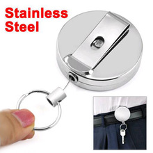 Tomtosh 2016 New High quality wholesale Retractable Metal Card Badge Holder Steel Recoil Ring Belt Clip Pull Key Chain