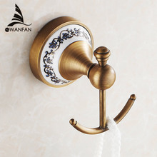 Robe Hooks European Style Antique Bronze Ceramic Robe Hook Wall Mounted Clothes Hook Coat Hook Bathroom Accessories HJ-1801F(China)
