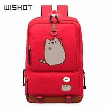 WISHOT Pusheen Cat cute unicorn backpack schoolbag casual backpack teenagers Men women's Student School Bags travel Laptop Bag(China)
